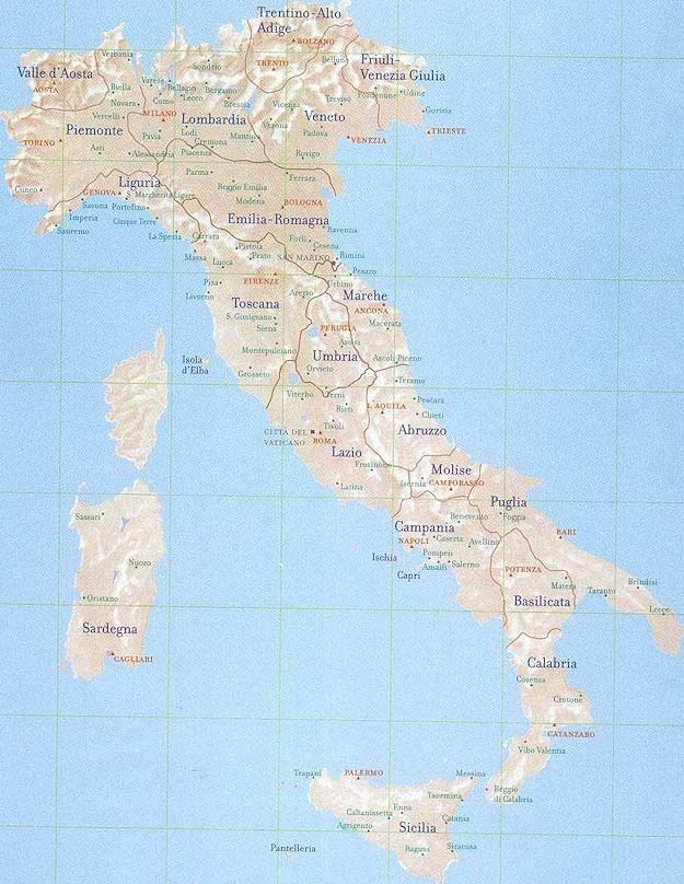 Travel Destinations  Italy Map