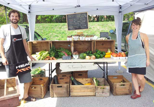 The Farmers Dell vegetables stand at the Farmers Market in Port Hope, Ontario Canada